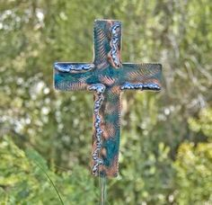 Cross Garden Stake / Copper Art / Metal Garden Art / Yard Art / Spiritual / Religious / Memorial / Garden Marker / Christian Sign