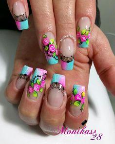 Rose Nail Art, Rose Nails, Glitter Nail Art, Gorgeous Nails, Pretty Nails, Mobile Nails, Finger Nail Art, Girls Nails, Nail Accessories