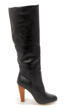 Dollhouse Embrace Black Knee High Heel Boots at LuLus.com!