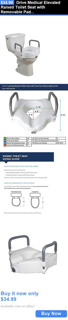 Toilet Seats: Drive Medical Elevated Raised Toilet Seat With Removable Padded Arms, Standard S BUY IT NOW ONLY: $34.99