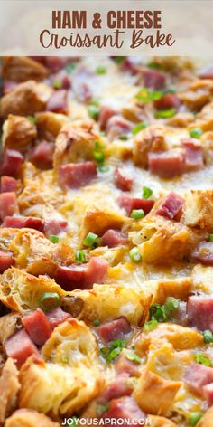Ham and Cheese Croissant Bake - easy and yummy Easter brunch and breakfast casserole dish! Ham, croissant, cheese, eggs baked to perfection. A fun and yummy party food for the holidays. #ham #eggs #cheese #croissant #bake #casserole #Easter #breakfast #brunch #recipe #joyousapron Ham Casserole, Breakfast Casserole, Casserole Dishes, Casserole Recipes, Breakfast Smoothies, Breakfast Dishes, Breakfast Recipes, Brunch Recipes, Gourmet Recipes