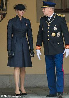 Prince Albert II of Monaco and Princess Charlene of Monaco attend the Monaco National Day Celebrations in the Monaco Palace Courtyard