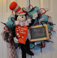 Dr. Seuss Cat in the Hat Wreath with Dr. Seuss on the Loose book $84.99