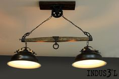"""INDUS3'L - industrial - pendant lighting - montreal - Sueno Furniture & Accessories.  another cool creation with stuff from """"old things old and rusty"""" and the wood pile.."""
