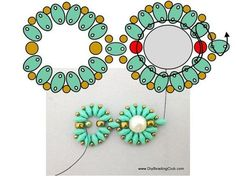 Superduo flower bracelet with central bead ~ Seed Bead Tutorials