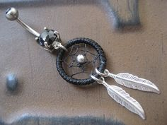 Black Thread Dream Catcher Belly Button Ring- Silver Feather Dreamcatcher Charm Dangle Navel Piercing Body Jewelry. $17.00, via Etsy.