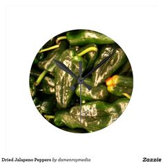 Dried Jalapeno Peppers Round Wallclock