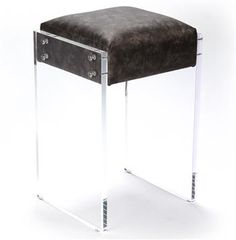 Modern Hollywood Regency Black Faux Leather Lucite Vanity Counter Stool. #kathykuohome #stool #lucite #HollywoodRegency