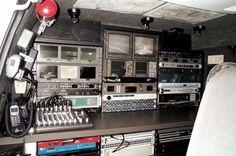 Law Enforcement Spy Equipment | Rear compartment of a police surveillance van.