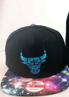 84c96a27731 CHICAGO BULLS NBA SNAPBACK BLACK BLUE HAT GALAXY BRIM BASKETBALL Snapback  Hats