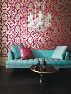 Pegasus Cerise Wallpaper designed by Matthew Williamson exclusively for Osborne and Little Eden Wallpapers Collection. A scrolling damask wallpaper designed by Matthew Williamson incorporating the majestic winged horse Pegasus with a contrasting flash of Matthew Williamson, Interior Inspiration, Design Inspiration, Osborne And Little, Damask Wallpaper, Bright Wallpaper, Amazing Wallpaper, Pattern Wallpaper, Piece A Vivre