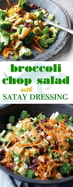 Simple & quick chop salad with roasted broccoli, cranberries, carrots with a creamy satay dressing. Get lots of broccoli goodness tossed in a satay sauce like dressing. http://thefreshaussie.com/2016/05/broccoli-chop-salad-satay-dressing/ thefershaussie.com