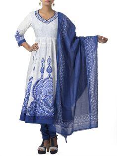 Blue Cotton Anarkali Suit Set