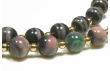 18K & Rare Black Mintabie Opal Necklace - Diamond Clasp