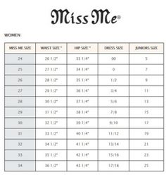 Miss me denim miss me size chart for jeans 3 pinterest