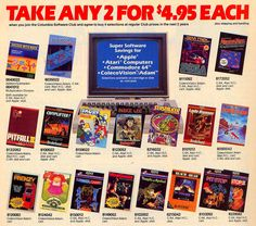 """Somewhere between LPs and CDs, Columbia House was hawking software and video games via a """"club"""". Around 1983 Columbia House was offering Atari 2600 games as a video game club and a software club that offered Atari Home Computers, Colecovision & Adam, Apple, and Commodore 64 games.  Read more: http://www.8-bitcentral.com/blog/2014/columbiaHouse.html#ixzz2xMzcsGCG"""