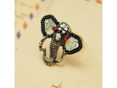 #Vintage Tribal Elephant Cocktail #Ring with Red #Rhinestones