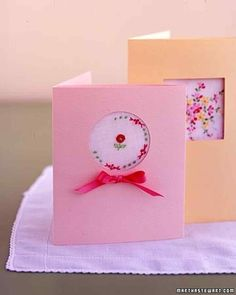 Peekaboo Gift Card   Martha Stewart Living - Showcase a little present, such as a handkerchief with pretty embroidery or a photo, by presenting it in a card like this.