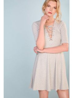 White and grey stripe lace up swing dress