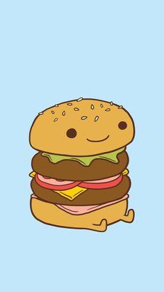 cartoon drawings drawing kawaii wallpapers plus burger foods bread backgrounds meat getwallpapers burgers iphone