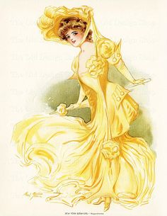Vintage Lady in Yellow by Maud Stumm New York Show Girl