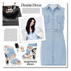 """""""Denim Dress"""" by debraelizabeth ❤ liked on Polyvore featuring Fendi, Dorothy Perkins, Maybelline, Estée Lauder, Ace, DenimDress and statementshoes"""