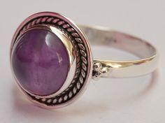 925 Sterling Silver Ethnic Ring 10mm Amethyst: Lilac Splendor