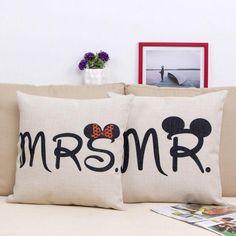 3.13AUD - Wedding Gift Mr / Mrs Cotton Linen Home Decor Sofa Pillow Case Cushion Cover Lg #ebay #Home & Garden