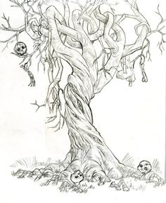 The skeletons are creepy but this is a good trunk reference. I love the twisted appearance of this tree! Creepy Drawings, Realistic Drawings, Art Drawings, Man Eating Tree, Tree Trunk Drawing, Tattoo Painting, Twisted Tree, Tree Sketches, Tree Tattoo Designs