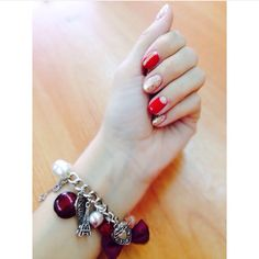 #nails #art #design #gold #red  #nailsart #nailsdesign #colors #summer
