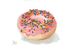 Sprinkle Donut Watercolour  Original Painting by WaterInMyPaint