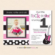 Little Rockstar Girl  Birthday Party Photo by inkberrycards