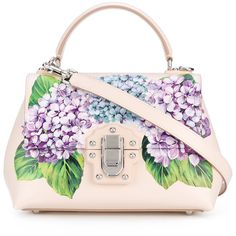 Dolce & Gabbana Hydrangea Print Lucia Tote (€2.280) ❤ liked on Polyvore featuring bags, handbags, tote bags, leather tote purse, pink leather handbags, leather tote, pink leather tote and floral tote bag
