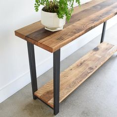 Console Table with Lower Shelf / Reclaimed Wood Sofa Table Console Table with Lower Shelf / Reclaime Wooden Furniture, Furniture Plans, Home Furniture, Furniture Repair, Furniture Design, Furniture Vintage, Refinished Furniture, Reclaimed Wood Furniture, Furniture Websites
