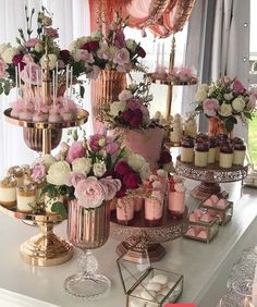 Dessert Table Set Up Wedding ; Dessert Table Set Up - bridal shower decorations Wedding Desserts, Wedding Cakes, Wedding Decorations, Elegant Desserts, Brunch Wedding, Easy Desserts, Wedding Candy Table, Wedding Ideas, Wedding Shower Centerpieces
