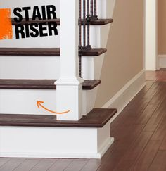 The stair riser is the vertical plane between each stair tread, it's often made of either the same wood on the tread or drywall.