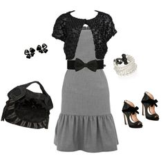 Cutesy - black, white & gray outfit