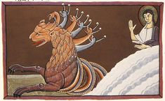 The Bamberg Apocalypse: The Beast from the Sea with Seven Heads, c. 1000