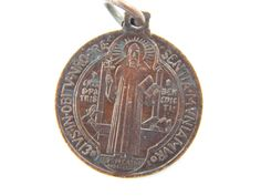 Vintage Saint Benedict Bronze Exorcism Medal - Benoit Catholic Medal - Religious Charm - M69 by LuxMeaChristus on Etsy
