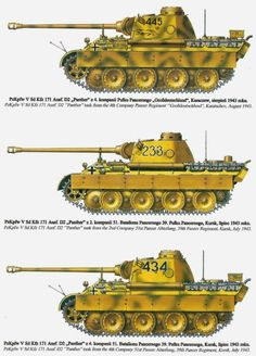Informational drawings of Panther Ausf D tanks operating with the 51st Panzer Battalion 1943