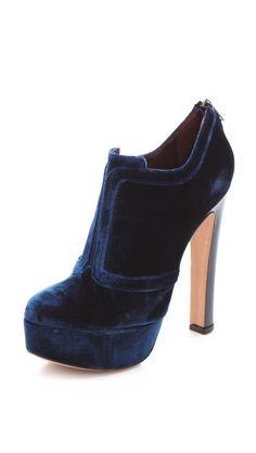 Jill Stuart's navy velvet booties