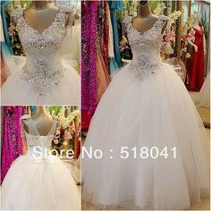 Sexy Deep V-neckline Laest Designs Shoulder Beading Crystal Diamond Alibaba  Ball Gown Wedding Dresses b96afec387