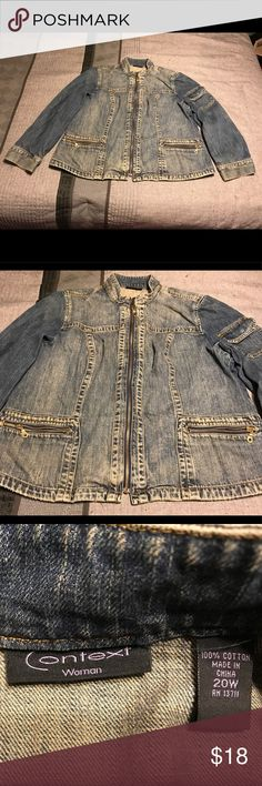 Plus Women's Jean Jacket This is a zipper up plus Women's Jean Jacket that has the bleached vintage look. It has two front pockets and a pocket on the sleeve. context women Jackets & Coats Jean Jackets