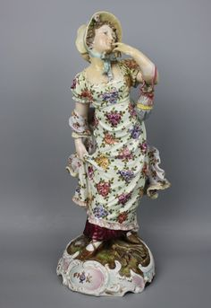 "Antique 19C large 14"" Dresden Volkstedt couple of figurines – LUX-FAIR.com"