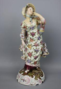 "Antique 19C large 14"" Dresden Volkstedt couple of figurines – LUX-FAIR.com"