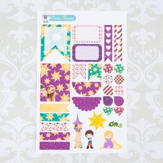 W131 // Tangled Rapunzel Weekly Theme Stickers - Disney Planner Stickers