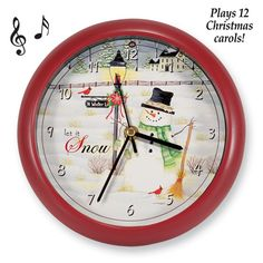 Musical Holiday Carols Snowman Clock