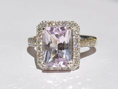Natural Untreated 5.20 CT Kunzite & Diamond Ring by bluefirejewelry, $2250.00