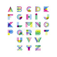Illustration about Colorful geometric alphabet. Overlapping creative font isolated on white background. Illustration of design, creative, alphabet - 87470167 Alphabet A, Alphabet Design, Alphabet Latin, Typography Love, Creative Typography, Creative Fonts, Typography Poster, Vintage Typography, Typography Quotes