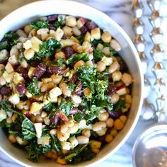 Autumn Three Bean Salad with Apple and Kale 1 Can kidney beans 1 Can Northern beans 1 Can garbanzo beans 2 c. Chopped kale 1 Red apple, cored and finely chopped 1 Shallot, very thinly sliced 3 T. Olive oil 1 t. Apple cider vinegar 1 t. Lemon juice Zest of 1 lemon Kosher salt & pepper